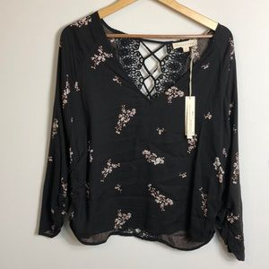 NWT Loveestitch black floral crochet top